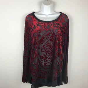 Vera Wang black and red see thru top